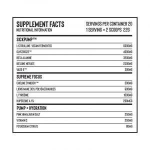 Naughty Boy Sickpump Synergy Pre Workout Nutritional Panel