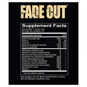 Redcon1 Fade Out Sleep Ingredients Panel