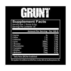 Redcon1 Grunt EAA 30 Servings Ingredients Panel