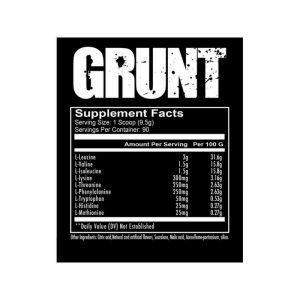 Redcon1 Grunt EAA 90 Servings Ingredients Panel