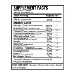 ASC Supplements Caliente Nutritional Panel